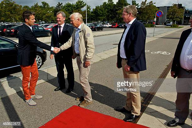 Crown Prince Frederik of Denmark meets Niels Nygaard president Danmarks Idrats Forbund ahead of his visit to the Danish National Badminton Team...
