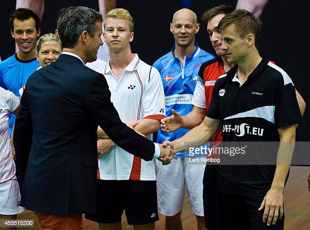 Crown Prince Frederik of Denmark meets player HansKristian Vittinghus during the Danish National Badminton Team training ahead of the Badminton World...