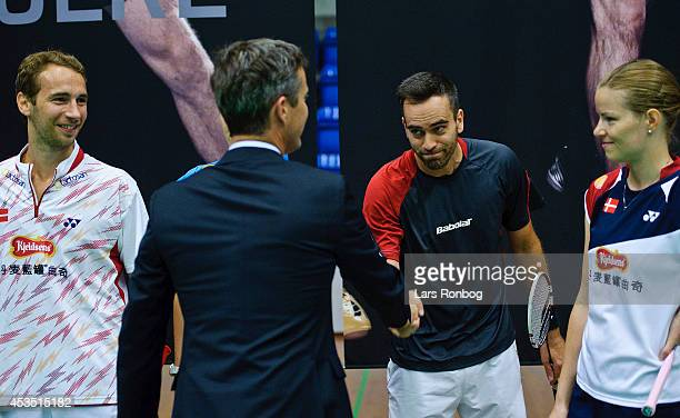 Crown Prince Frederik of Denmark meets players Mathias Boe Joachim Fischer and Christinna Pedersen during the Danish National Badminton Team training...