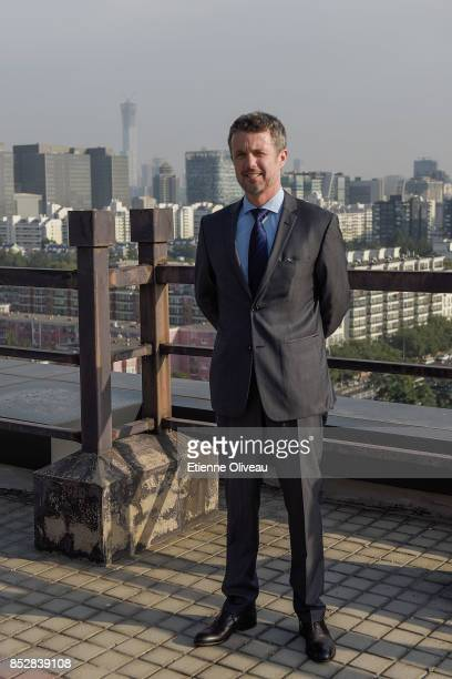 Crown Prince Frederik of Denmark poses for a picture on the terrace of the Gehua Plaza after the signing ceremony between Danish and Chinese...