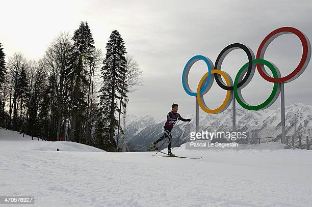 Crown Prince Frederik of Denmark practices during day 13 of the 2014 Sochi Winter Olympics at Laura Crosscountry Ski Biathlon Center on February 20...