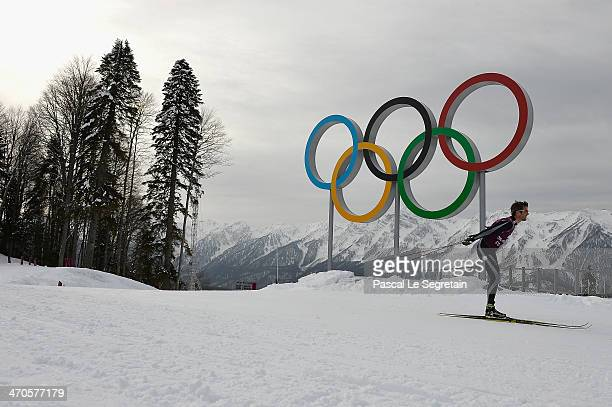 Crown Prince Frederik of Denmark practices during day 13 of the 2014 Sochi Winter Olympics at Laura Cross-country Ski & Biathlon Center on February...