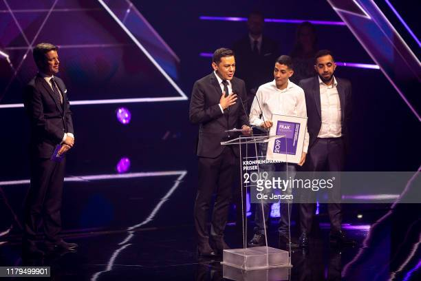 Crown Prince Frederik of Denmark presents the Crown Prince Couples Social Stardust award to the organization FRAK on November 2, 2019 in Odense,...