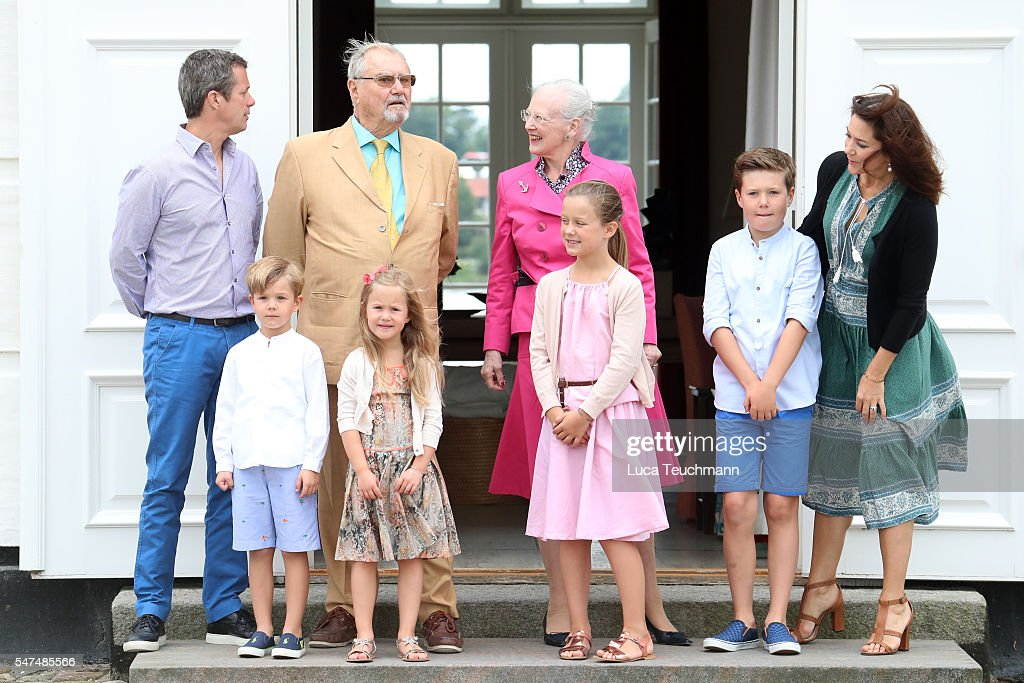 Crown Prince Frederik of Denmark, Prince Vincent of Denmark, Prince Henrik of Denmark, Princess Josephine of Denmark, Queen Margrethe II of Denmark, Princess Isabella of Denmark, Prince Christian of Denmark and Crown Princess Mary of Denmark pose for photographers at the annual summer photo call for The Danish Royal Family at Grasten Castle on July 15, 2016 in Grasten, Denmark.