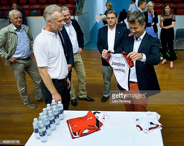 Crown Prince Frederik of Denmark receives presents for his daughter Princess Josephine of Denmark from Finn TrarupHansen head of sports of Badminton...