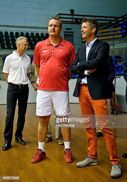 Crown Prince Frederik of Denmark speaks to Lars Uhre coach of Danish National Badminton Team during his visit to the Danish National Badminton Team...