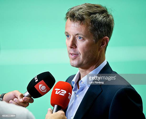 Crown Prince Frederik of Denmark speaks to media after the Danish National Badminton Team training ahead of the Badminton World Championships at...