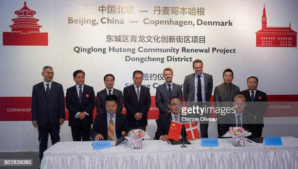 Crown Prince Frederik of Denmark takes part in the signing ceremony between Danish and Chinese companies that will work together on the Qinlong...
