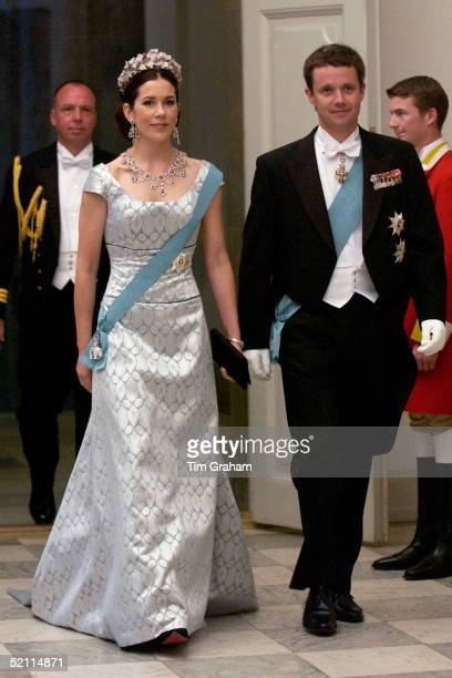 Crown Prince Frederik Of Denmark With His Bride To Be Australian Mary Donaldson Attending A Reception At The Christiansborg Palace To Celebrate Their...
