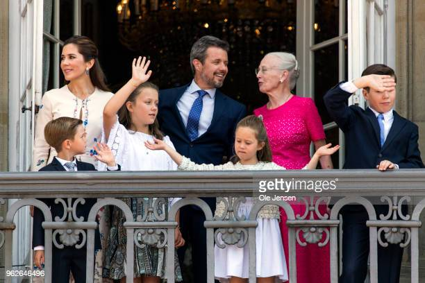 Crown Prince Frederik of Denmark with his family and Queen Margrethe waves ro rhe people on the Amalienborg Palace square on the occasion of his 50th...
