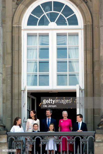 Crown Prince Frederik of Denmark with his family waves ro rhe people on the Amalienborg Palace square on the occasion of his 50th birthday on May 26...