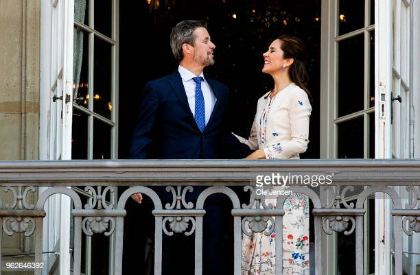 Crown Prince Frederik of Denmark with his wife Crown Princess Mary at the balcony of their residence on Amalienborg Palace on the occasion of his...