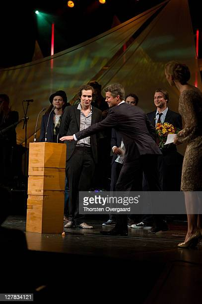Crown Prince Frederik with awardee the band The William Blakes at the award show of Crown Prince Frederik and Crown Princess Mary at Musikhuset...