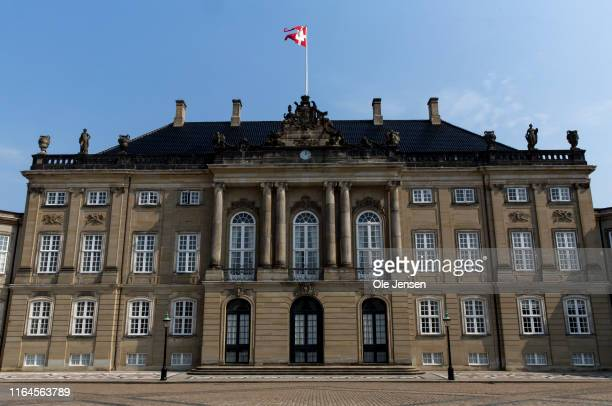 Crown prince Frederiks and Crown Princess Marys residence, Frederik VIIIs palace, at Amalienborg on August 28, 2019 in Copenhagen, Denmark....
