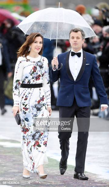 Crown Prince Fredrik and Crown Princess Mary of Denmark are seen arriving at the Opera House on the occasion of the celebration of King Harald and...