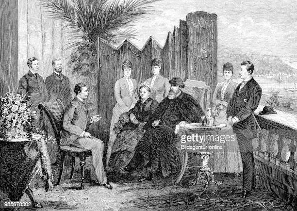 Crown Prince Friedrich Wilhelm and his family on the platform in front of the Villa Zirio in San Remo Italy March 1888 digital improved reproduction...