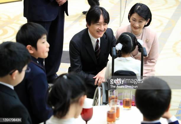 Crown Prince Fumihito, Crown Prince Akishino and Crown Princess Kiko of Akishino talk with winners of the Youth Book Report Contest Award Ceremony on...