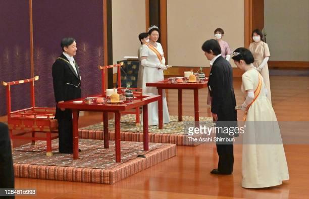 Crown Prince Fumihito, Crown Prince Akishino and Crown Princess Kiko of Akishino greet Emperor Naruhito and Empress Masako during the 'Choken-no-Gi'...