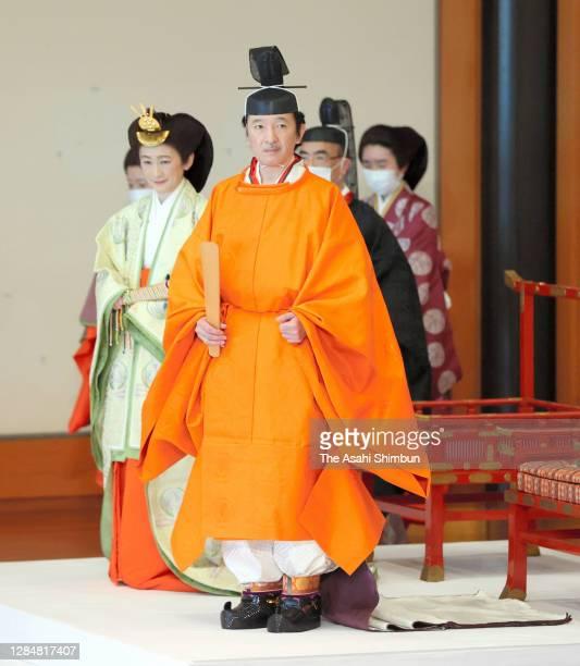 Crown Prince Fumihito, Crown Prince Akishino and Crown Princess Kiko of Akishino attend the 'Rikkoshi-Senmei-no-Gi' ceremony for proclamation of...