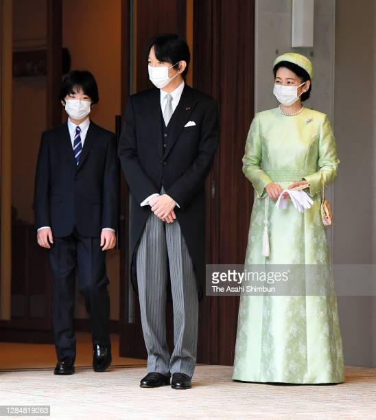 Crown Prince Fumihito, Crown Prince Akishino and Crown Princess Kiko of Akishino are seen off by Prince Hisahito prior to the 'Rikkoshi-Senmei-no-Gi'...