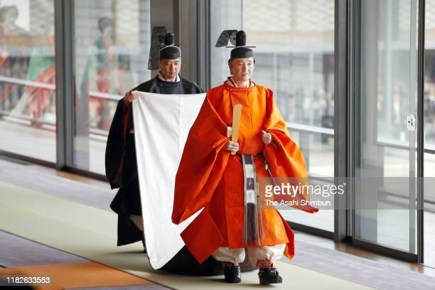 Crown Prince Fumihito, Crown Prince Akishino attends the enthronement ceremony of Japanese Emperor Naruhito proclaiming his enthronement at the...