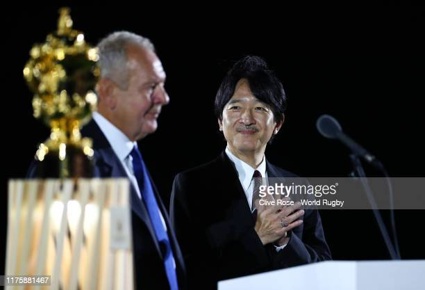 Crown Prince Fumihito, Crown Prince Akishino looks on as Bill Beaumont, Chairman of World Rugby, speaks during the Opening Ceremony prior to the...