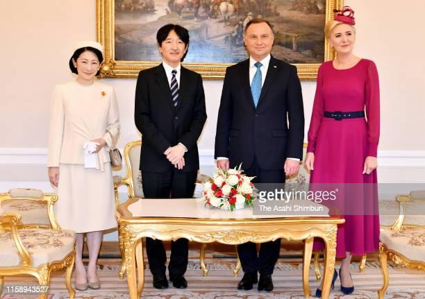 Crown Prince Fumihito or Crown Prince Akishino and Crown Princess Kiko of Akishino pose with Polish President Andrzej Duda and his wife Agata Duda...
