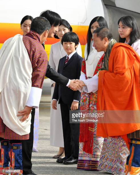 Crown Prince Fumihito or Crown Prince Akishino Crown Princess Kiko of Akishino Prince Hisahito of Japan are welcomed by Princess Sonam Dechen...