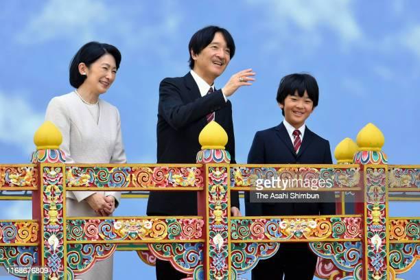 Crown Prince Fumihito or Crown Prince Akishino Crown Princess Kiko of Akishino and their son Prince Hisahito visit the National Museum on August 17...