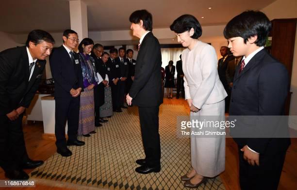 Crown Prince Fumihito or Crown Prince Akishino Crown Princess Kiko of Akishino and their son Prince Hisahito meet members of the Japan International...