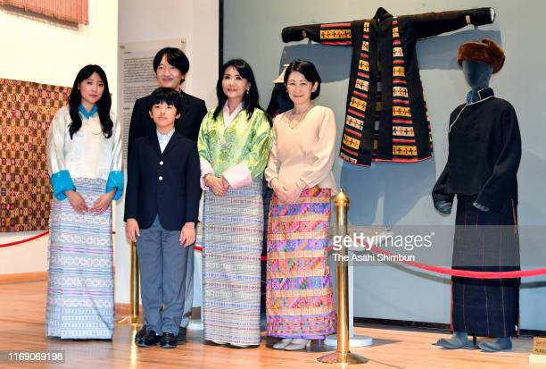 Crown Prince Fumihito or Crown Prince Akishino Crown Princess Kiko of Akishino Prince Hisahito pose with Queen Mother Sangay Choden of Bhutan and...