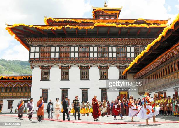 Crown Prince Fumihito or Crown Prince Akishino Crown Princess Kiko of Akishino and Prince Hisahito visit the Tashichho Dzong for their meeting with...