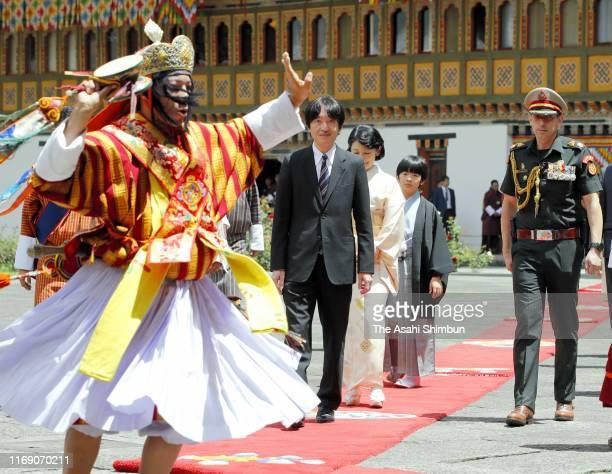 Crown Prince Fumihito, or Crown Prince Akishino, Crown Princess Kiko of Akishino and Prince Hisahito visit the Tashichho Dzong for their meeting with...