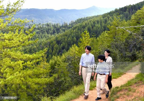 Crown Prince Fumihito, or Crown Prince Akishino, Crown Princess Kiko of Akishino and Prince Hisahito enjoy hiking on August 20, 2019 in Thimphu,...