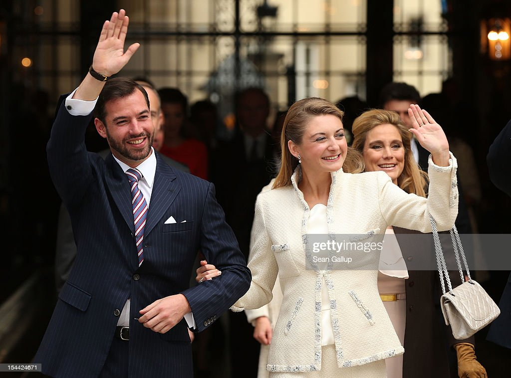 Crown Prince Guillaume of Luxembourg and Countess Stephanie de Lannoy depart the Grand-Ducal Palace prior to the civil ceremony for the wedding of Prince Guillaume of Luxembourg and Stephanie de Lannoy at the Hotel De Ville on October 19, 2012 in Luxembourg, Luxembourg. The 30-year old hereditary Grand Duke of Luxembourg is the last hereditary Prince in Europe to get married, marrying his 28-year old Belgian Countess bride in a lavish 2-day ceremony.