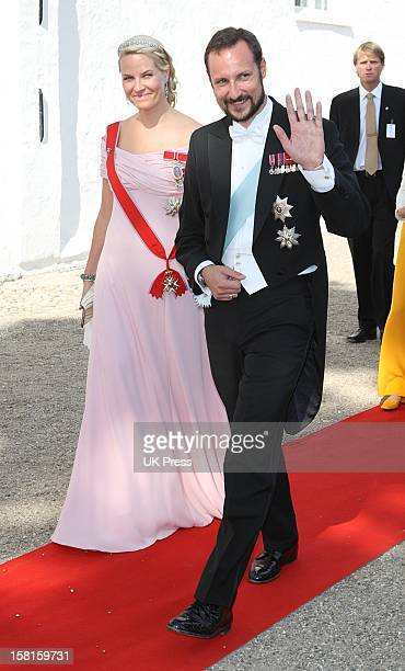 Crown Prince Haakon And Crown Princess Mette Marit Of Norway Arrive For The Wedding Of Prince Joachim Of Denmark And Miss Marie Cavallier At...