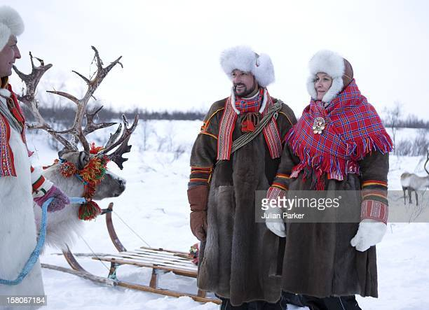 Crown Prince Haakon And Crown Princess Mette Marit Of Norway On A Two Day Visit To Finnmark In Norway Visit A Sami Reindeer Herders Winter Settlement...