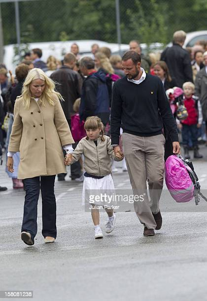 Crown Prince Haakon And Crown Princess Mette Of Norway Take Their Daughter Princess Ingrid Alexandra Arrive For Her First Day At School In Asker Near...