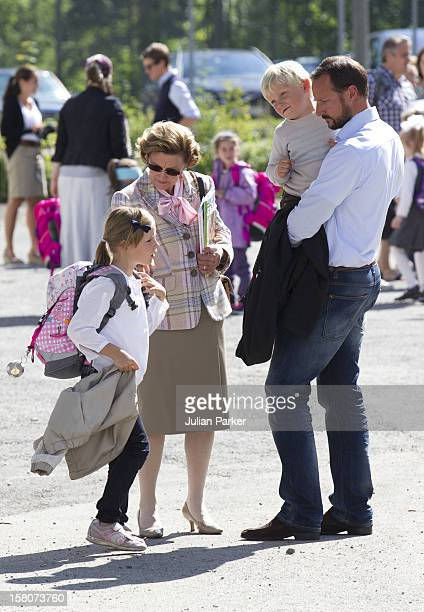 Crown Prince Haakon And Crown Princess MetteMarit And Queen Sonja Of Norway Accompany Prince Sverre Magnus On His First School Day At Janslokka...
