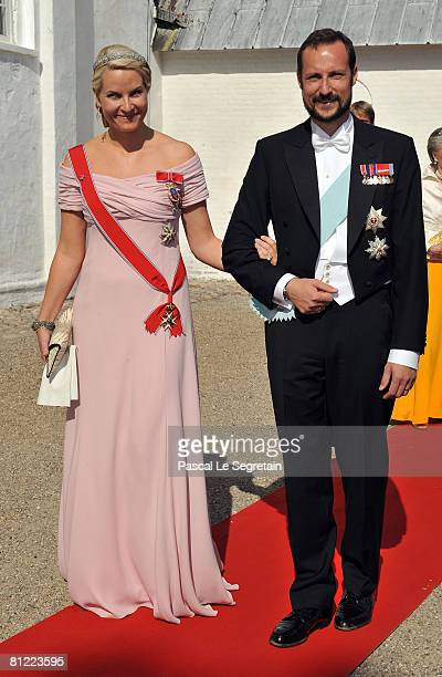 Crown Prince Haakon and Crown Princess Mette-Marit of Norway arrive to attend the wedding between Prince Joachim of Denmark and Marie Cavallier on...