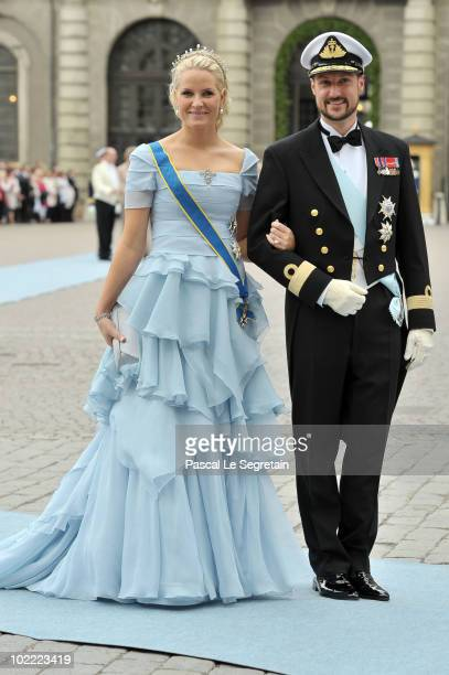 Crown Prince Haakon and Crown Princess MetteMarit of Norway attend the wedding of Crown Princess Victoria of Sweden and Daniel Westling on June 19...