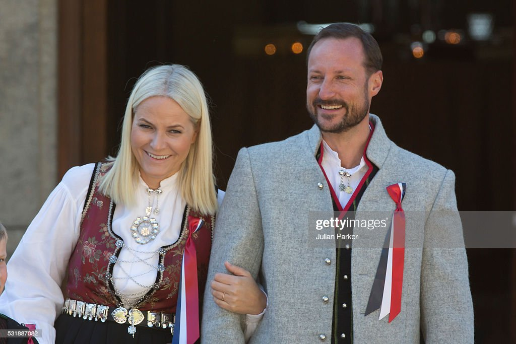 Crown Prince Haakon, and Crown Princess Mette-Marit of Norway, attend the traditional morning children's parade, at their home, Skaugum, in Asker, near Oslo, on Norway's National Day, on May 17, 2016 in Oslo, Norway.