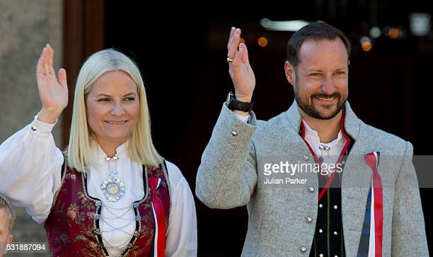 Crown Prince Haakon and Crown Princess MetteMarit of Norway attend the traditional morning children's parade at their home Skaugum in Asker near Oslo...