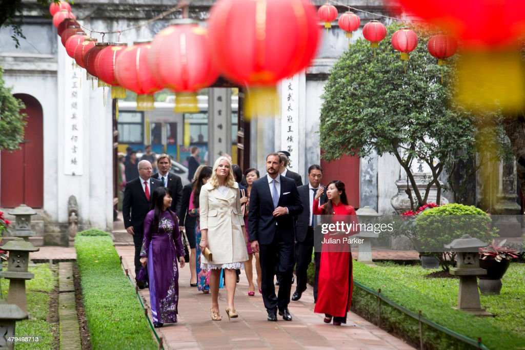 Crown Prince Haakon and Crown Princess Mette-Marit of Norway during day 1 of an official visit to Vietnam, visit The Temple of Literature, on March 19, 2014 in Hanoi, Vietnam.