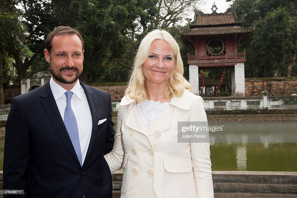 Crown Prince Haakon and Crown Princess Mette-Marit of Norway during day 1 of an official visit to Vietnam, visit The Temple of Literature on March 19, 2014 in Hanoi, Vietnam.