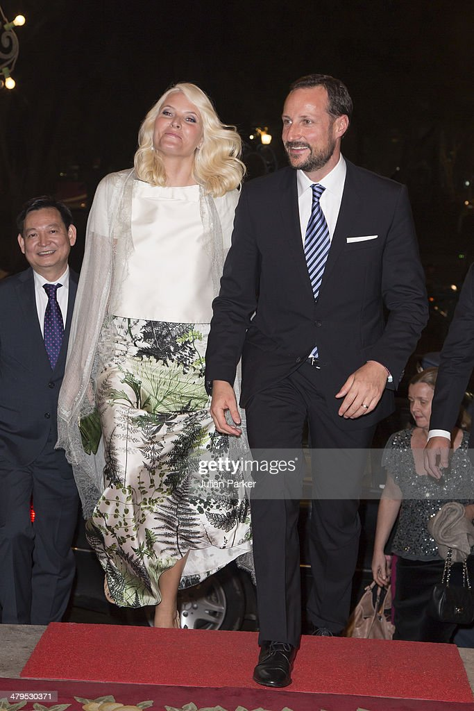 Crown Prince Haakon and Crown Princess Mette-Marit of Norway during day 1 of an official visit to Vietnam, attend a State Banquet, at The Government Guest House on March 19, 2014 in Hanoi, Vietnam.
