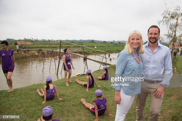 Crown Prince Haakon and Crown Princess MetteMarit of Norway during day 2 of an official visit to Vietnam visit Huong An Secondary School on March 20...
