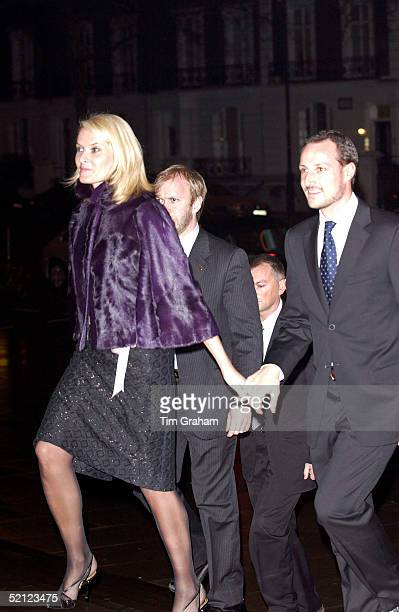 Crown Prince Haakon and Princess MetteMarit of Norway holding hands arriving at the V A for a reception to launch the exhibition 'Style and Splendour...