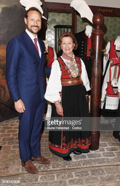 Crown Prince Haakon and Crown Princess Mette Marit are seen during the opening of the exhibition 'Tradition And Inspiration National Heritage In The...