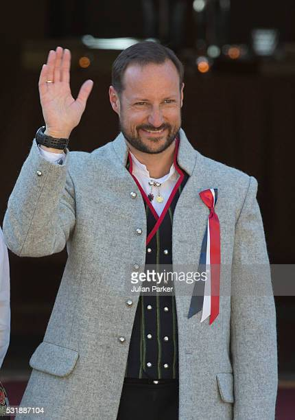 Crown Prince Haakon attends the traditional morning children's parade, at his home, Skaugum, in Asker, near Oslo, on Norway's National Day, on May...